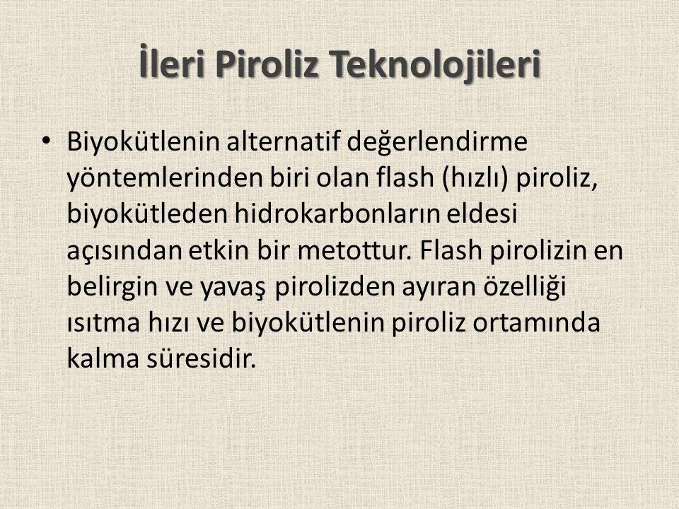 İleri Piroliz Teknolojileri Biyokütlenin alternatif değerlendirme yöntemlerinden biri olan flash (hızlı) piroliz, biyokütleden hidrokarbonların eldesi