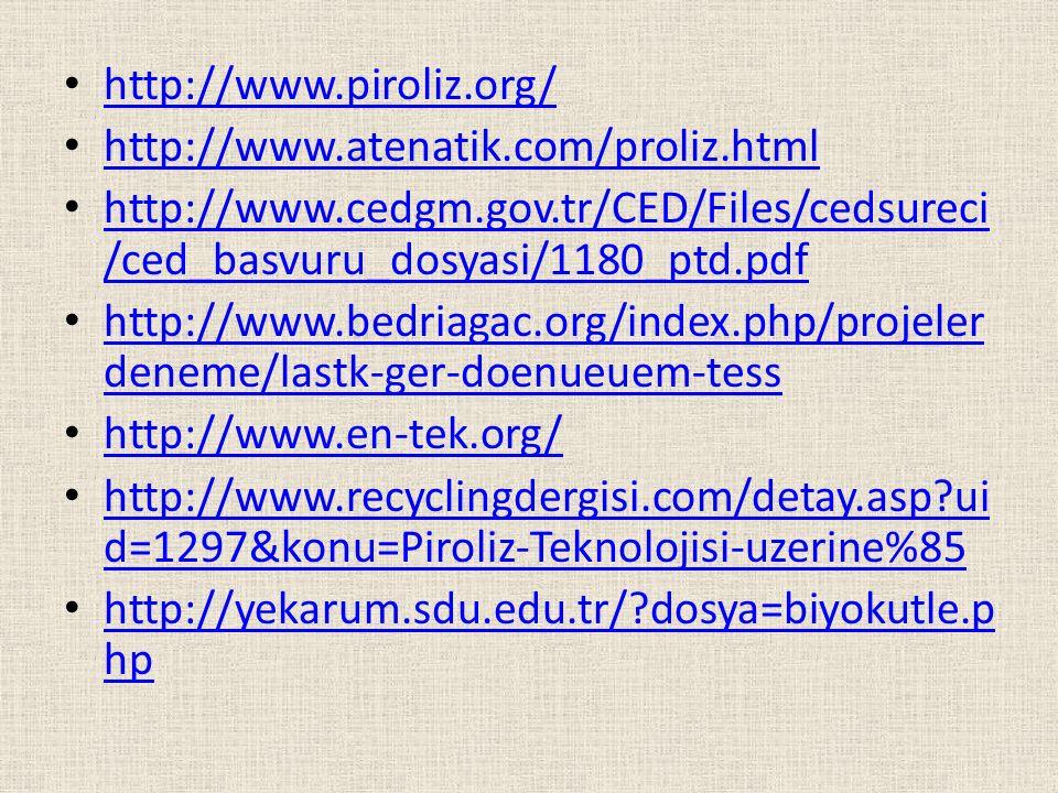 http://www.piroliz.org/ http://www.atenatik.com/proliz.html http://www.cedgm.gov.tr/CED/Files/cedsureci /ced_basvuru_dosyasi/1180_ptd.pdf http://www.c