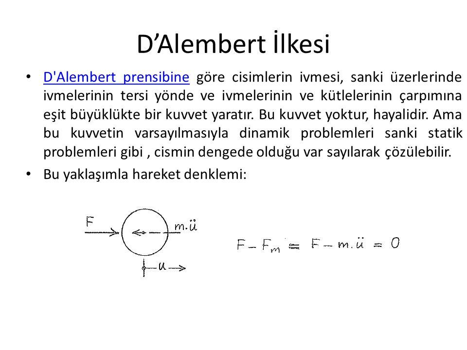 D'Alembert İlkesi D Alembert prensibine göre cisimlerin ivmesi, sanki üzerlerinde ivmelerinin tersi yönde ve ivmelerinin ve kütlelerinin çarpımına eşit büyüklükte bir kuvvet yaratır.