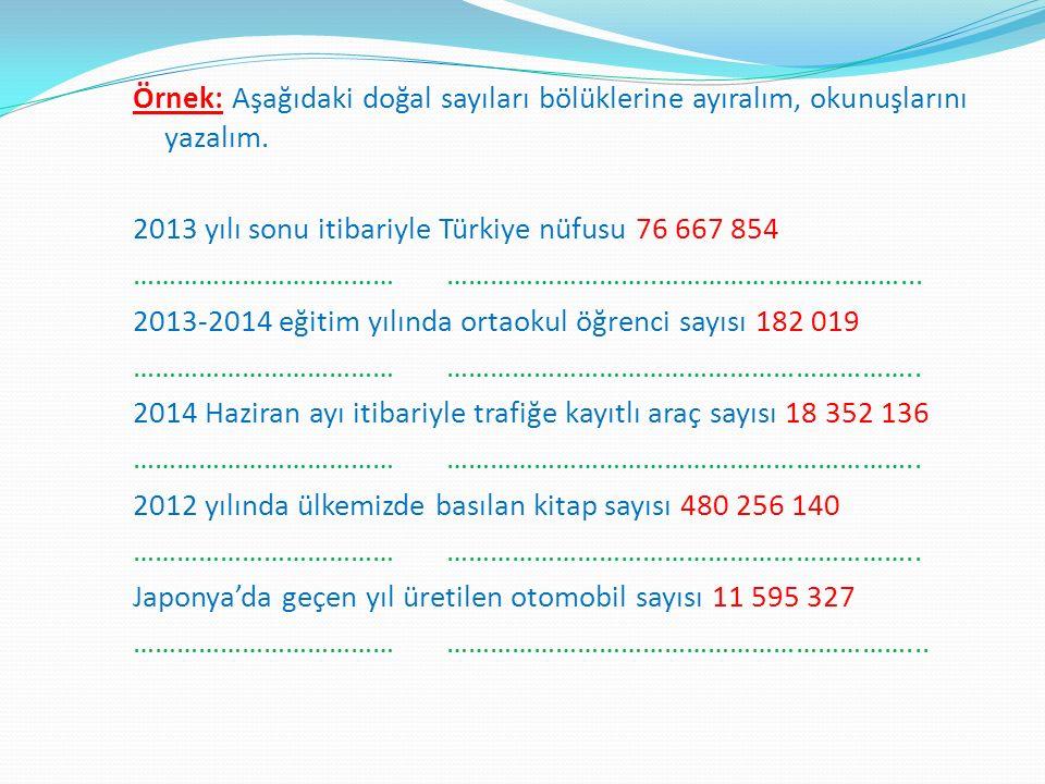 Örnek: Aşağıdaki doğal sayıları bölüklerine ayıralım, okunuşlarını yazalım. 2013 yılı sonu itibariyle Türkiye nüfusu 76 667 854 ……………………………………………………….