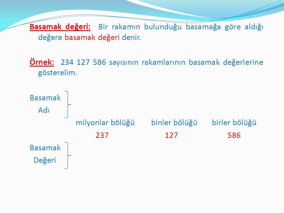 Basamak değeri: Bir rakamın bulunduğu basamağa göre aldığı değere basamak değeri denir. Örnek: 234 127 586 sayısının rakamlarının basamak değerlerine