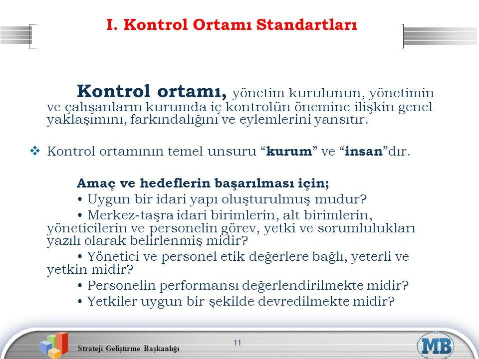 Strateji Geliştirme Başkanlığı 11 I. Kontrol Ortamı Standartları Kontrol ortamı, yönetim kurulunun, yönetimin ve çalışanların kurumda iç kontrolün öne