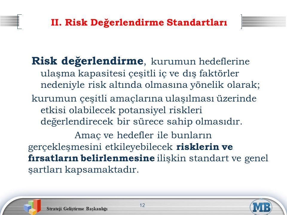 Strateji Geliştirme Başkanlığı 12 II. Risk Değerlendirme Standartları Risk değerlendirme, kurumun hedeflerine ulaşma kapasitesi çeşitli iç ve dış fakt