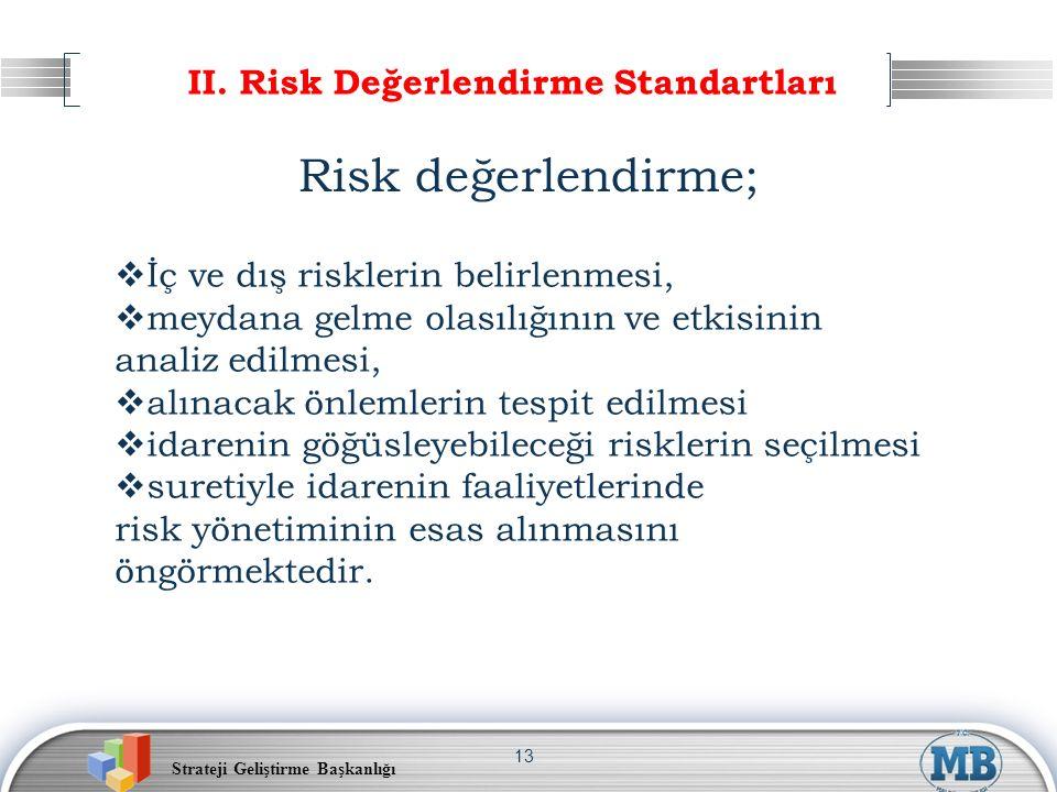 Strateji Geliştirme Başkanlığı 13 II. Risk Değerlendirme Standartları Risk değerlendirme;  İç ve dış risklerin belirlenmesi,  meydana gelme olasılığ