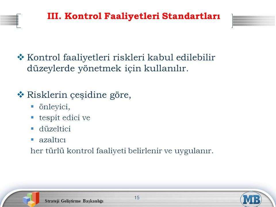 Strateji Geliştirme Başkanlığı 15 III. Kontrol Faaliyetleri Standartları  Kontrol faaliyetleri riskleri kabul edilebilir düzeylerde yönetmek için kul