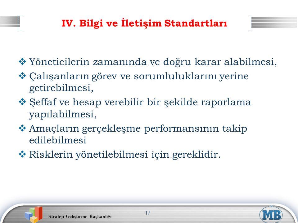 Strateji Geliştirme Başkanlığı 17 IV. Bilgi ve İletişim Standartları  Yöneticilerin zamanında ve doğru karar alabilmesi,  Çalışanların görev ve soru