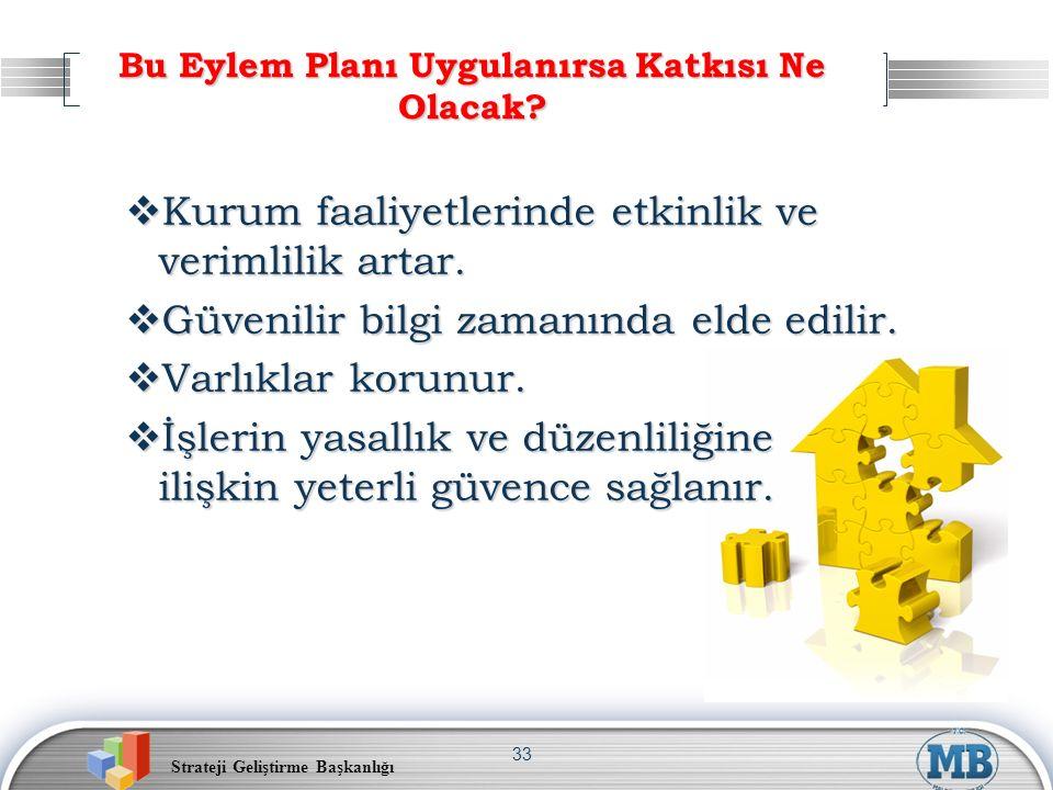 Strateji Geliştirme Başkanlığı 33 Bu Eylem Planı Uygulanırsa Katkısı Ne Olacak?  Kurum faaliyetlerinde etkinlik ve verimlilik artar.  Güvenilir bilg