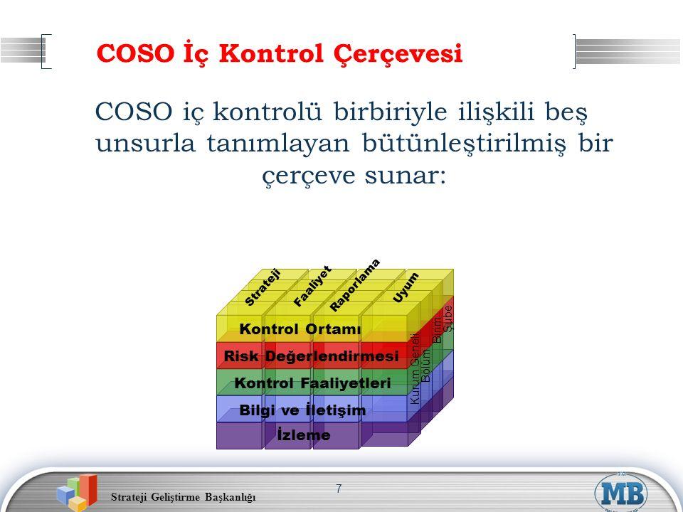 Strateji Geliştirme Başkanlığı 7 COSO İç Kontrol Çerçevesi COSO iç kontrolü birbiriyle ilişkili beş unsurla tanımlayan bütünleştirilmiş bir çerçeve su