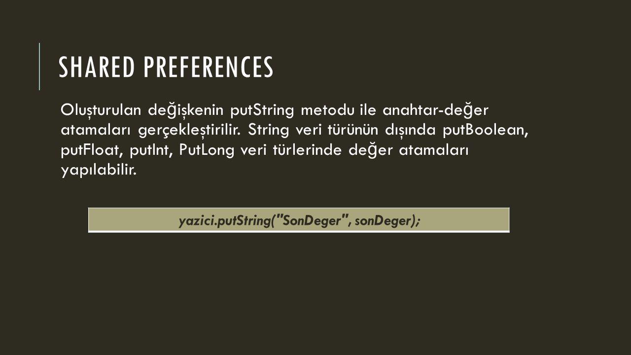 SHARED PREFERENCES Oluşturulan de ğ işkenin putString metodu ile anahtar-de ğ er atamaları gerçekleştirilir.