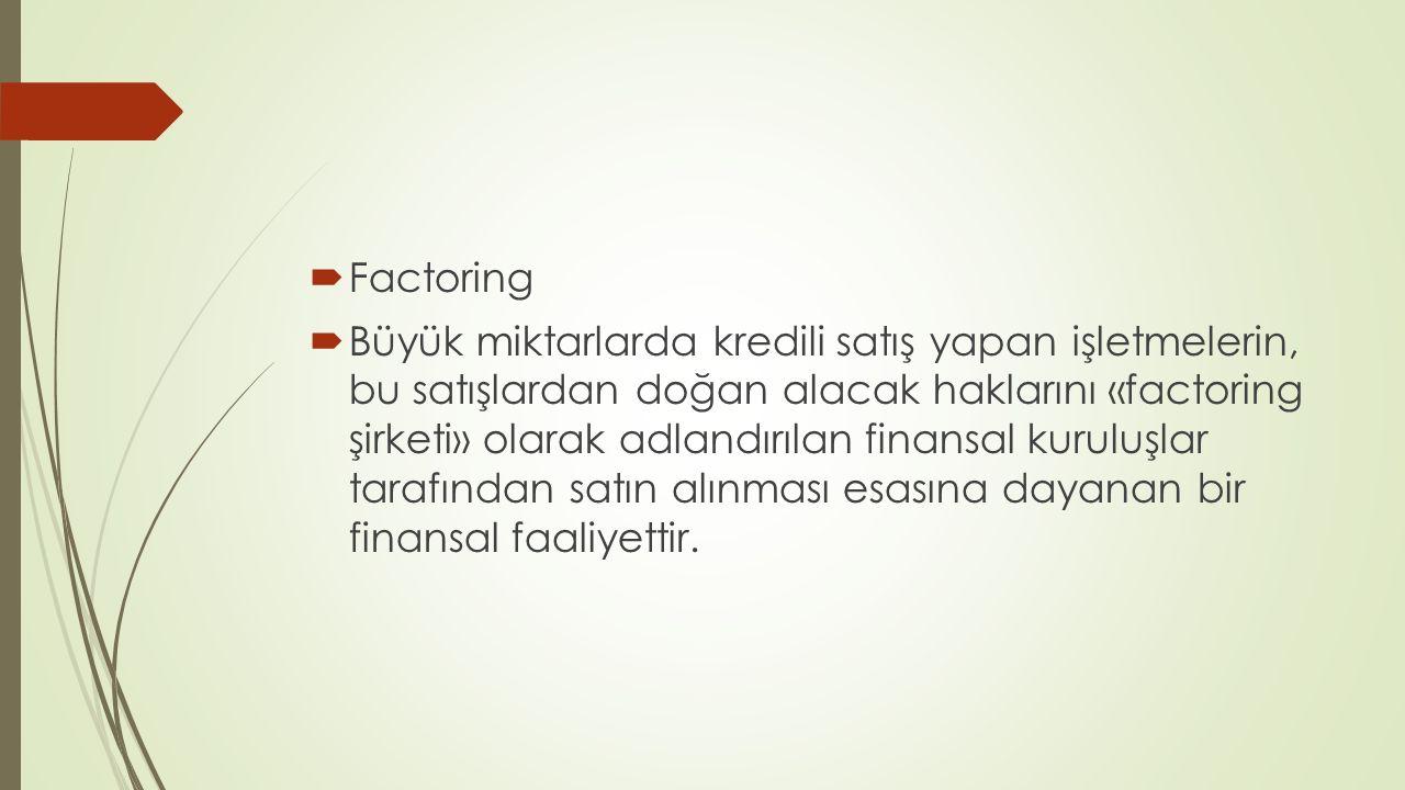  Factoring  Büyük miktarlarda kredili satış yapan işletmelerin, bu satışlardan doğan alacak haklarını «factoring şirketi» olarak adlandırılan finansal kuruluşlar tarafından satın alınması esasına dayanan bir finansal faaliyettir.