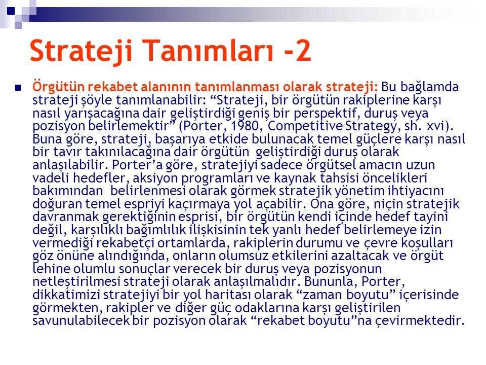 """Strateji Tanımları -2 Örgütün rekabet alanının tanımlanması olarak strateji: Bu bağlamda strateji şöyle tanımlanabilir: """"Strateji, bir örgütün rakiple"""