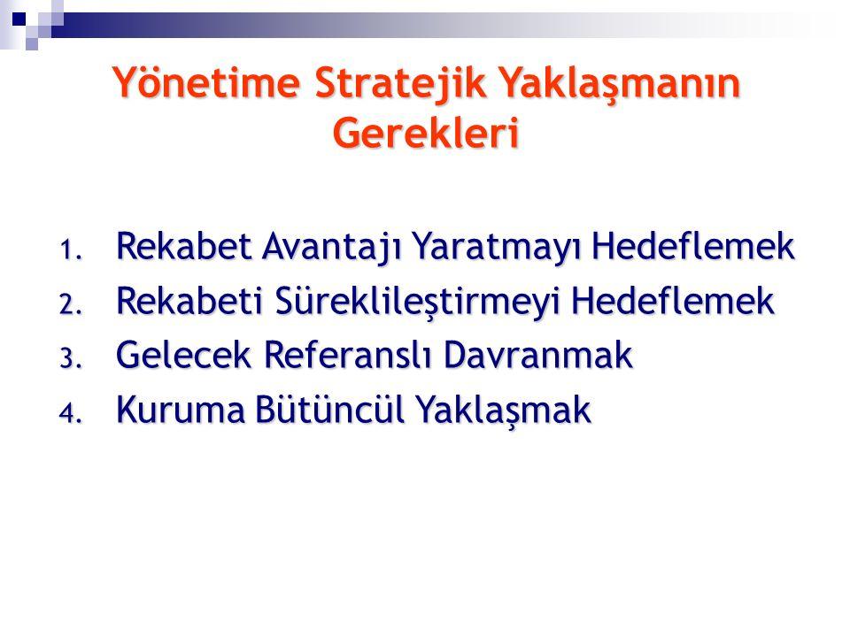 Yönetime Stratejik Yaklaşmanın Gerekleri 1. Rekabet Avantajı Yaratmayı Hedeflemek 2. Rekabeti Süreklileştirmeyi Hedeflemek 3. Gelecek Referanslı Davra