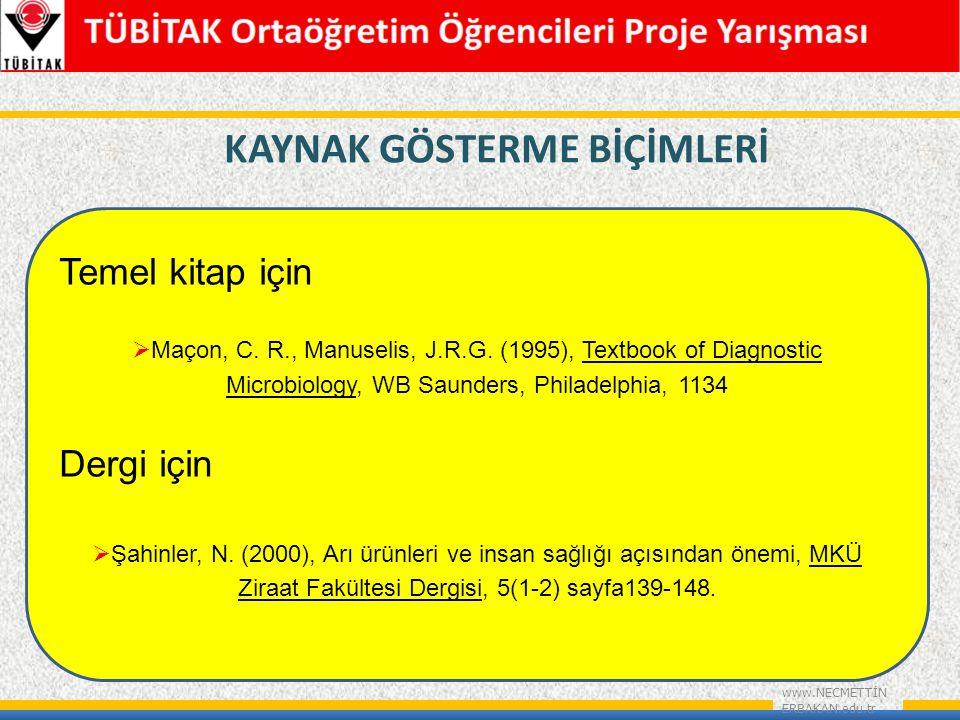 KAYNAK GÖSTERME BİÇİMLERİ www.NECMETTİN ERBAKAN.edu.tr Temel kitap için  Maçon, C.