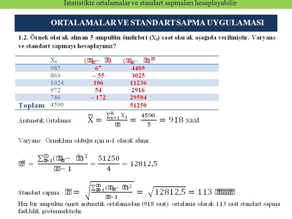 ORTALAMALAR VE STANDART SAPMA UYGULAMASI İstatistikte ortalamalar ve standart sapmaları hesaplayabilir