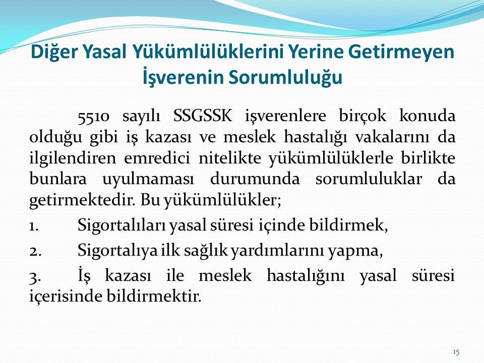 Diğer Yasal Yükümlülüklerini Yerine Getirmeyen İşverenin Sorumluluğu 5510 sayılı SSGSSK işverenlere birçok konuda olduğu gibi iş kazası ve meslek hast