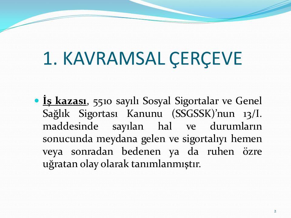1. KAVRAMSAL ÇERÇEVE İş kazası, 5510 sayılı Sosyal Sigortalar ve Genel Sağlık Sigortası Kanunu (SSGSSK)'nun 13/I. maddesinde sayılan hal ve durumların