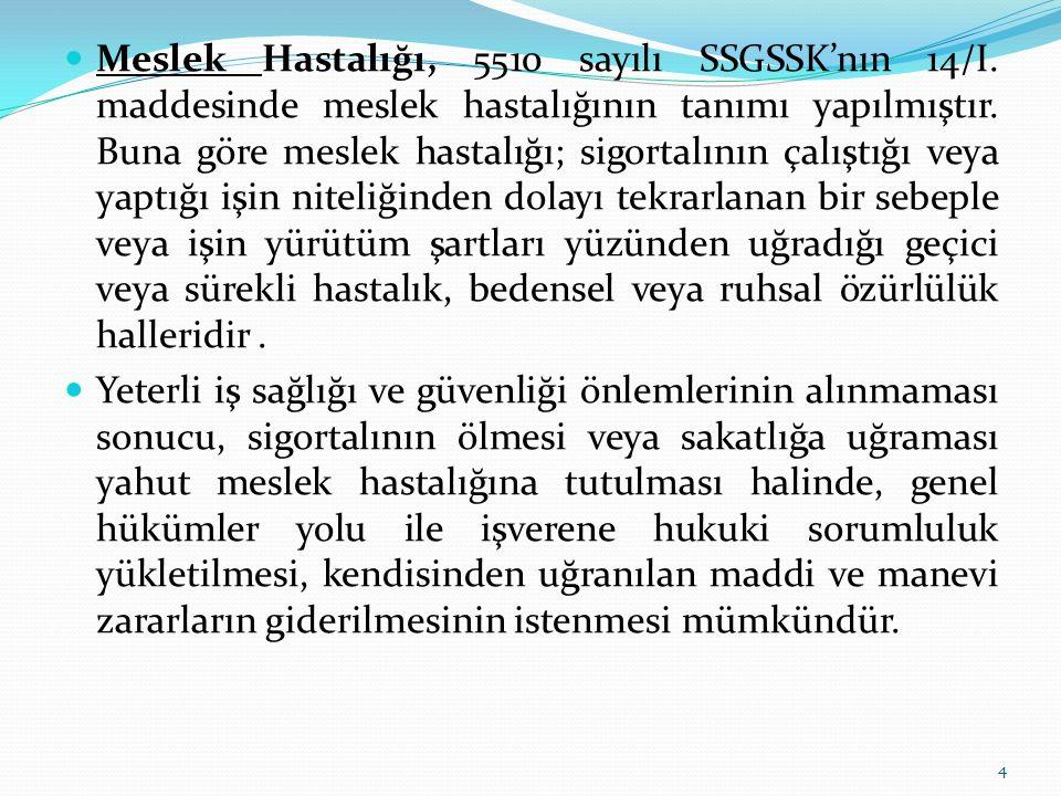 Meslek Hastalığı, 5510 sayılı SSGSSK'nın 14/I. maddesinde meslek hastalığının tanımı yapılmıştır. Buna göre meslek hastalığı; sigortalının çalıştığı v
