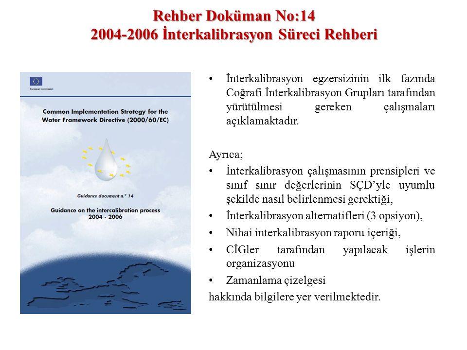 Rehber Doküman No:14 2004-2006 İnterkalibrasyon Süreci Rehberi İnterkalibrasyon egzersizinin ilk fazında Coğrafi İnterkalibrasyon Grupları tarafından