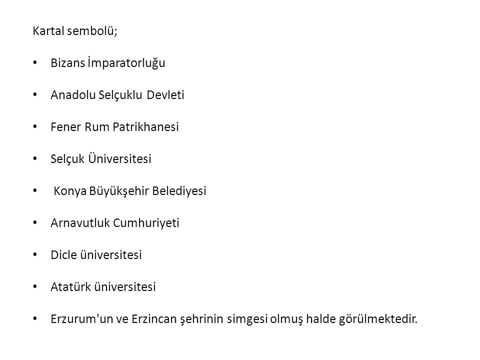 Kartal sembolü; Bizans İmparatorluğu Anadolu Selçuklu Devleti Fener Rum Patrikhanesi Selçuk Üniversitesi Konya Büyükşehir Belediyesi Arnavutluk Cumhur