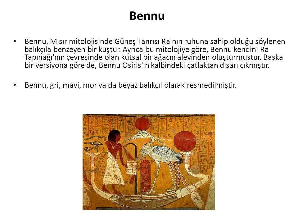 Bennu Bennu, Mısır mitolojisinde Güneş Tanrısı Ra'nın ruhuna sahip olduğu söylenen balıkçıla benzeyen bir kuştur. Ayrıca bu mitolojiye göre, Bennu ken