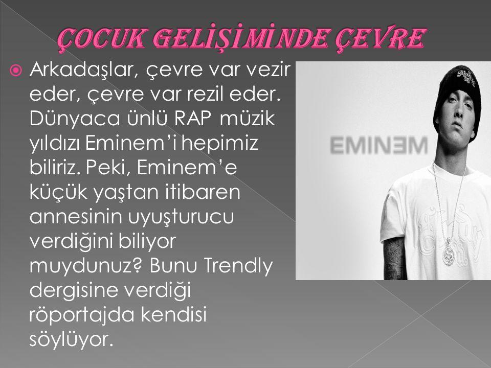  Arkadaşlar, çevre var vezir eder, çevre var rezil eder. Dünyaca ünlü RAP müzik yıldızı Eminem'i hepimiz biliriz. Peki, Eminem'e küçük yaştan itibare