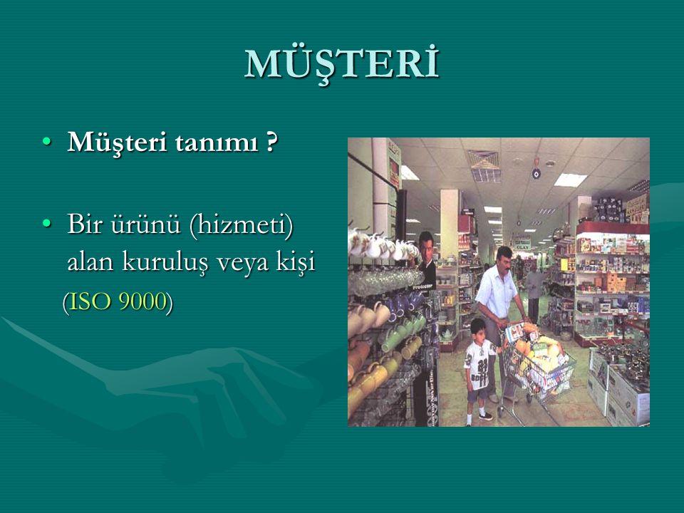 MÜŞTERİ Müşteri tanımı ?Müşteri tanımı ? Bir ürünü (hizmeti) alan kuruluş veya kişiBir ürünü (hizmeti) alan kuruluş veya kişi (ISO 9000) (ISO 9000)