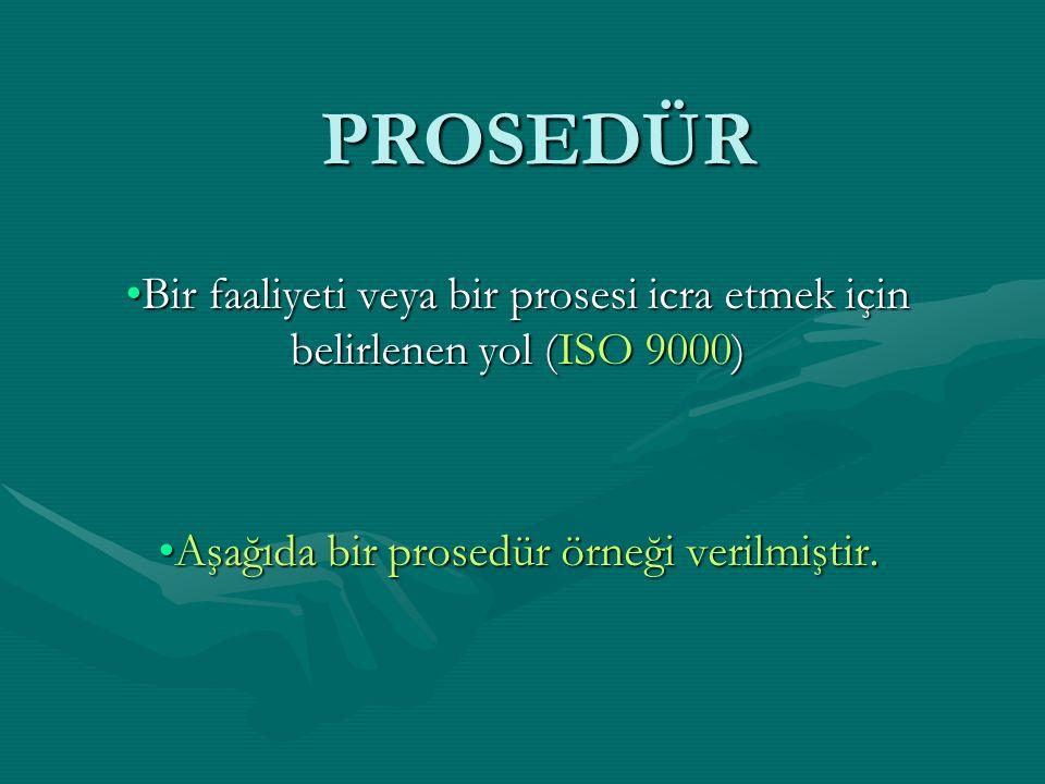 PROSEDÜR Bir faaliyeti veya bir prosesi icra etmek için belirlenen yol (ISO 9000)Bir faaliyeti veya bir prosesi icra etmek için belirlenen yol (ISO 90