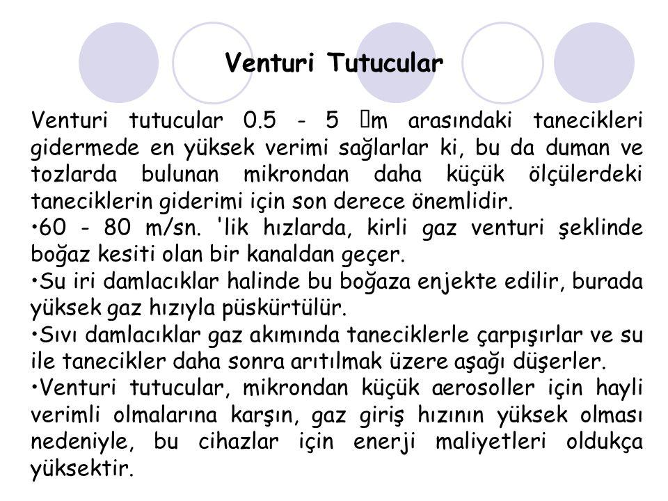 Venturi Tutucular Venturi tutucular 0.5 - 5  m arasındaki tanecikleri gidermede en yüksek verimi sağlarlar ki, bu da duman ve tozlarda bulunan mikrondan daha küçük ölçülerdeki taneciklerin giderimi için son derece önemlidir.