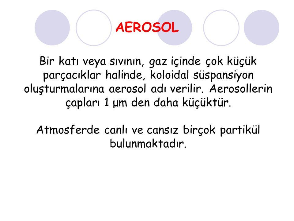 AEROSOL Bir katı veya sıvının, gaz içinde çok küçük parçacıklar halinde, koloidal süspansiyon oluşturmalarına aerosol adı verilir.