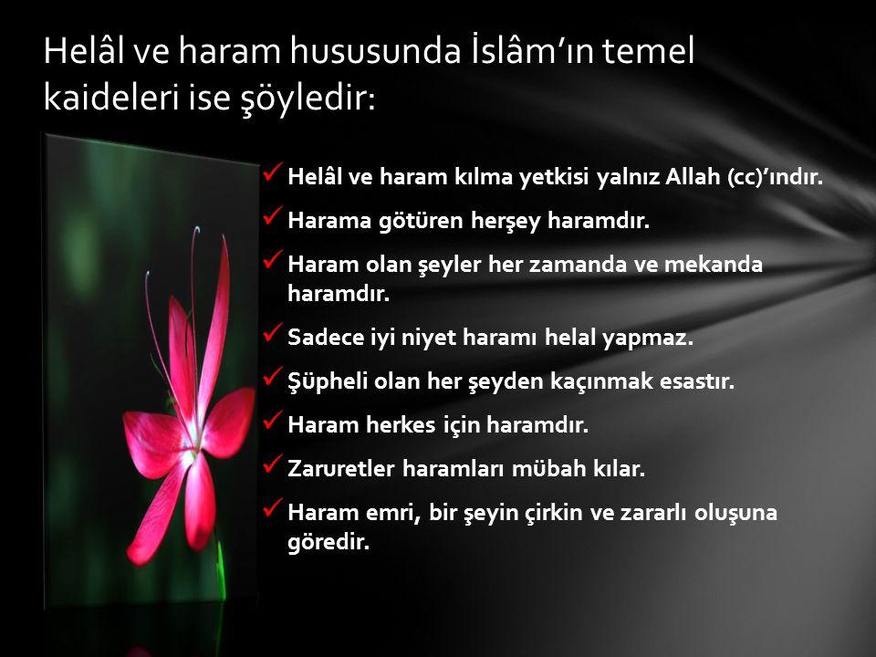 Helâl ve haram kılma yetkisi yalnız Allah (cc)'ındır. Harama götüren herşey haramdır. Haram olan şeyler her zamanda ve mekanda haramdır. Sadece iyi ni