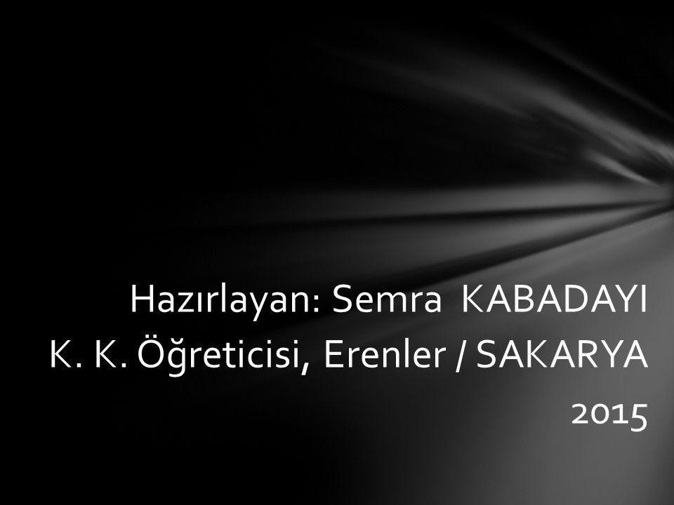 Hazırlayan: Semra KABADAYI K. K. Öğreticisi, Erenler / SAKARYA 2015