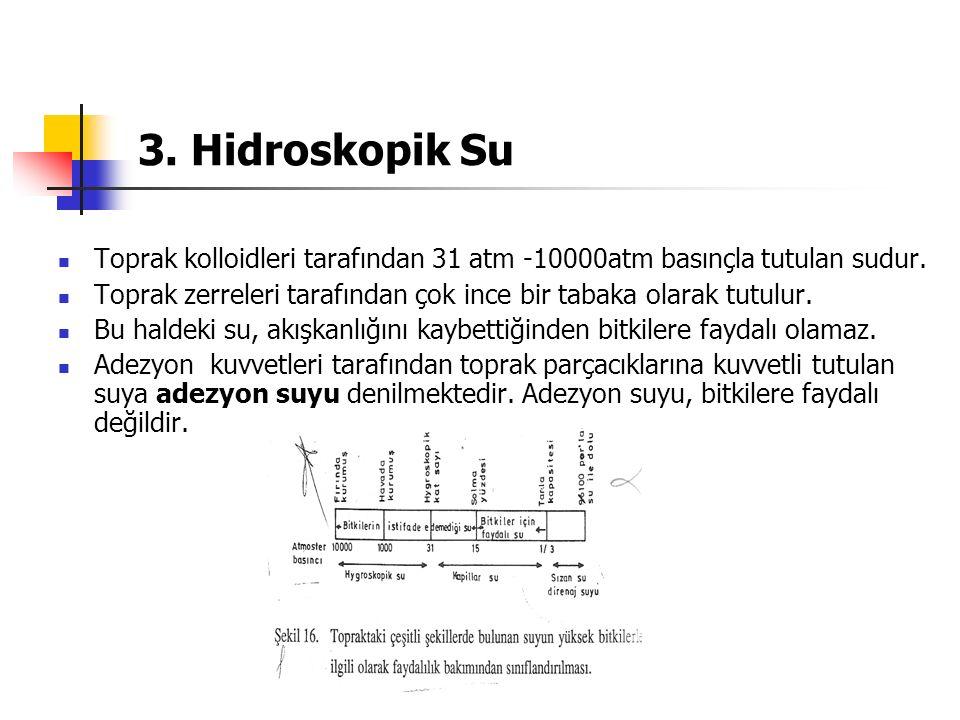 3. Hidroskopik Su Toprak kolloidleri tarafından 31 atm -10000atm basınçla tutulan sudur. Toprak zerreleri tarafından çok ince bir tabaka olarak tutulu