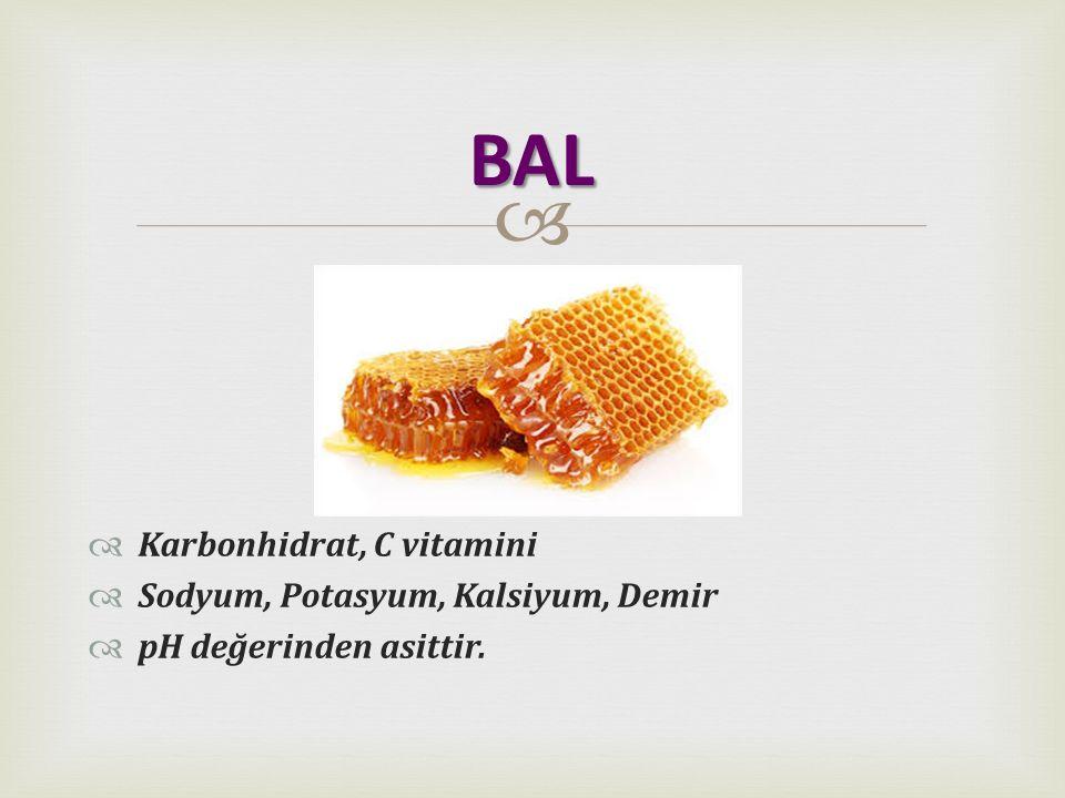   Karbonhidrat, C vitamini  Sodyum, Potasyum, Kalsiyum, Demir  pH değerinden asittir. BAL