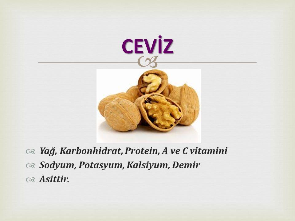   Yağ, Karbonhidrat, Protein, A ve C vitamini  Sodyum, Potasyum, Kalsiyum, Demir  Asittir. CEVİZ