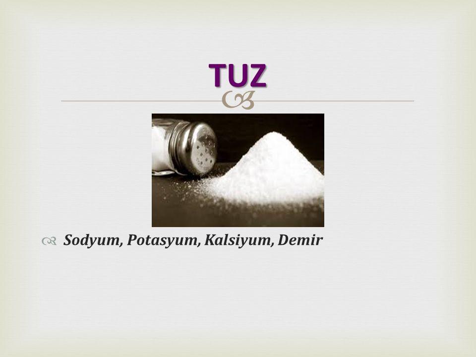   Sodyum, Potasyum, Kalsiyum, Demir TUZ