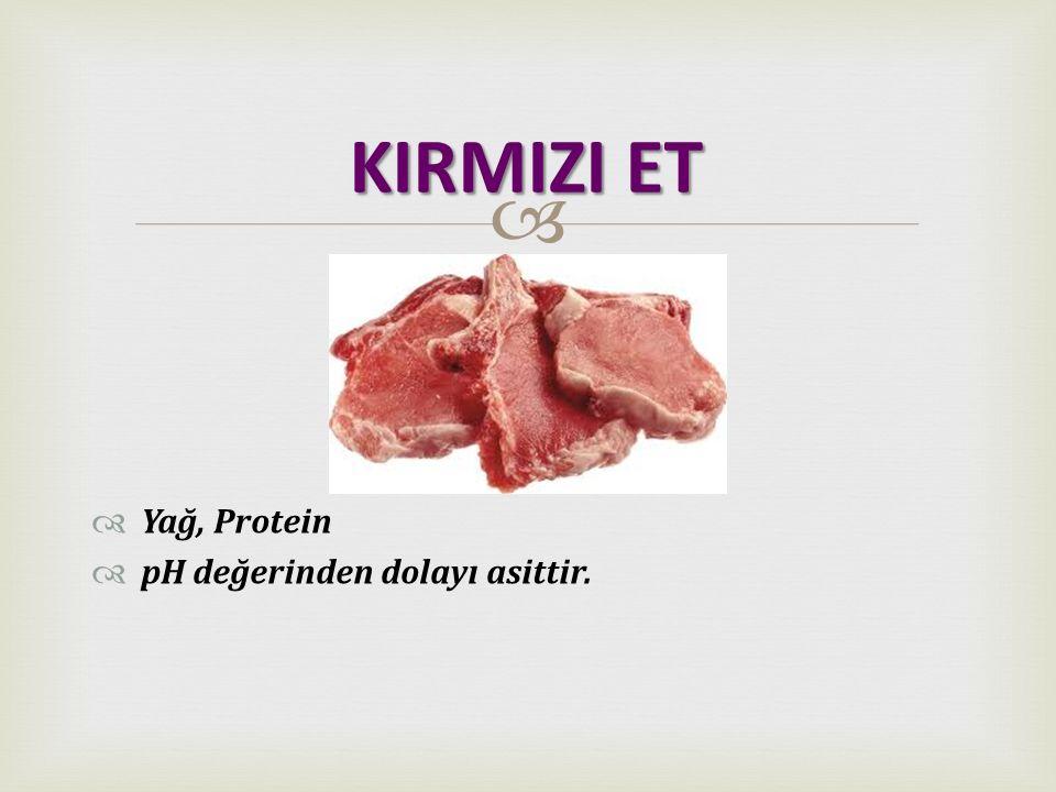   Yağ, Protein  pH değerinden dolayı asittir. KIRMIZI ET