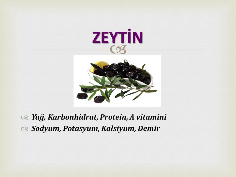   Yağ, Protein, A vitamini  Sodyum, Potasyum, Kalsiyum  Ph 'ından dolayı asittir. PEYNİR