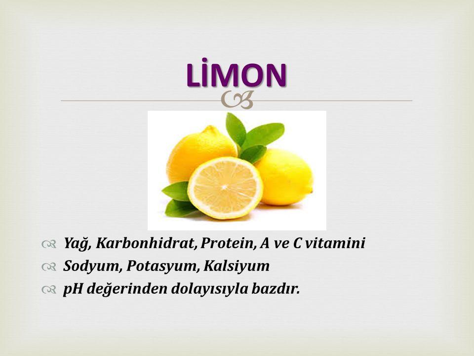   Yağ, Karbonhidrat, Protein, A ve C vitamini  Sodyum, Potasyum, Kalsiyum  pH değerinden dolayısıyla bazdır. LİMON