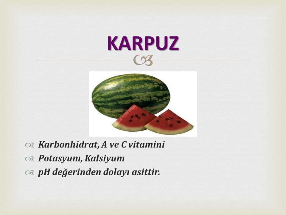   Karbonhidrat, A ve C vitamini  Potasyum, Kalsiyum  pH değerinden dolayı asittir. KARPUZ