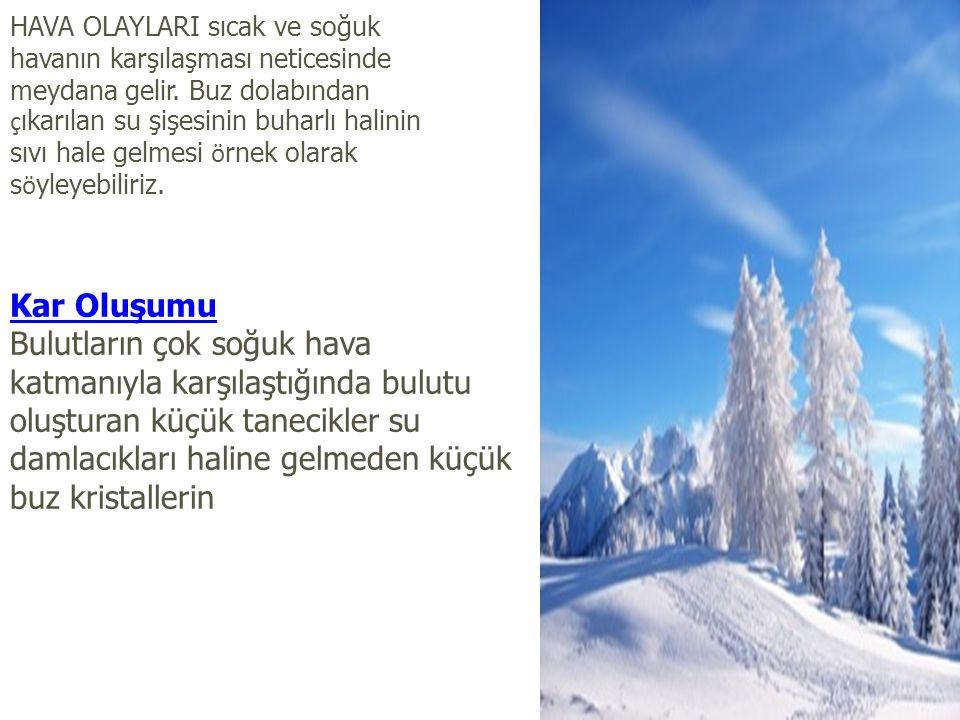 HAVA OLAYLARI sıcak ve soğuk havanın karşılaşması neticesinde meydana gelir.