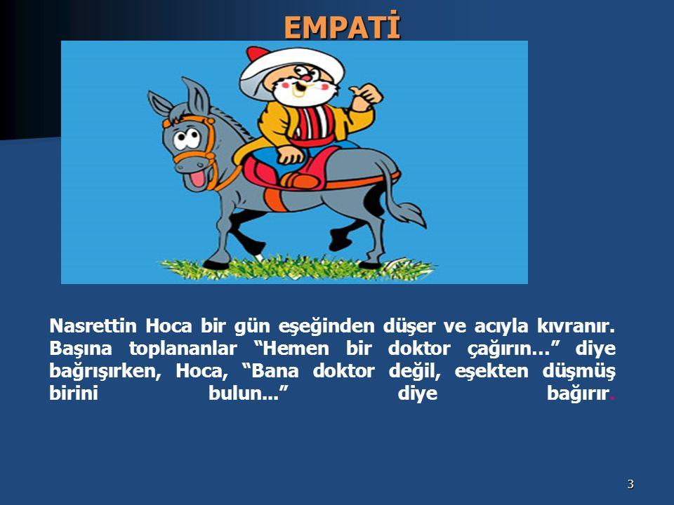 Empati, bir insanın, kendisini karşısındaki insanın yerine koyarak onun duygularını ve düşüncelerini doğru olarak anlamasıdır.