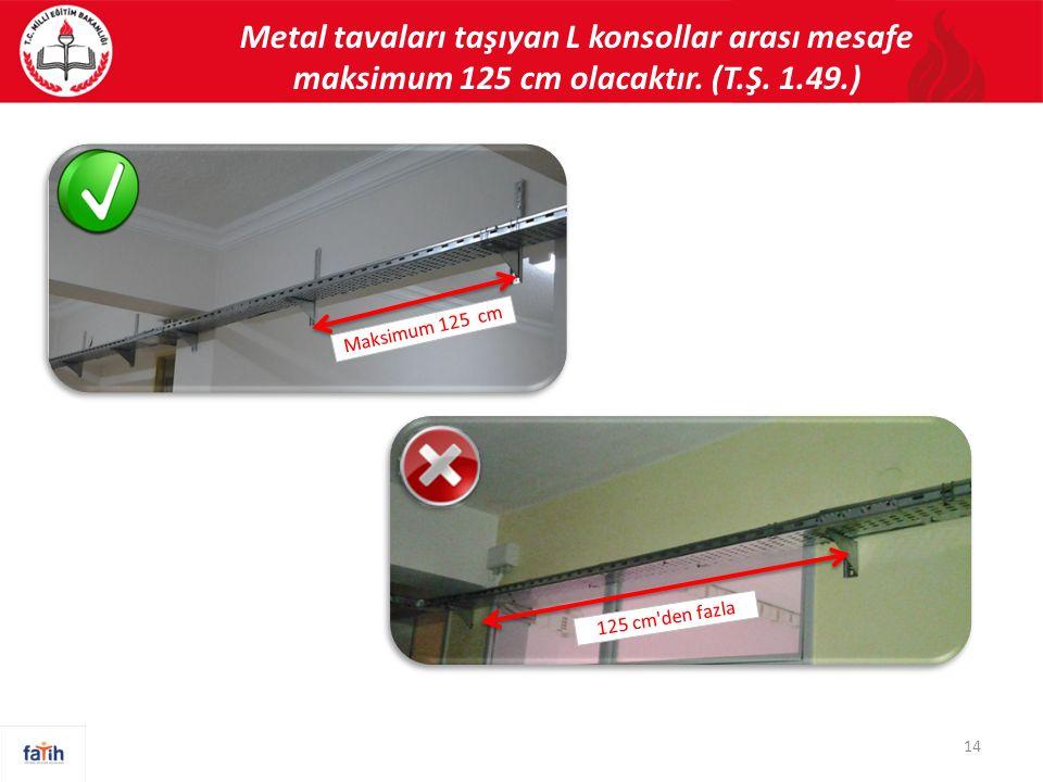 Metal tavaları taşıyan L konsollar arası mesafe maksimum 125 cm olacaktır. (T.Ş. 1.49.) Maksimum 125 cm 125 cm'den fazla 14