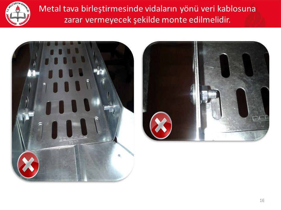 Metal tava birleştirmesinde vidaların yönü veri kablosuna zarar vermeyecek şekilde monte edilmelidir. 16