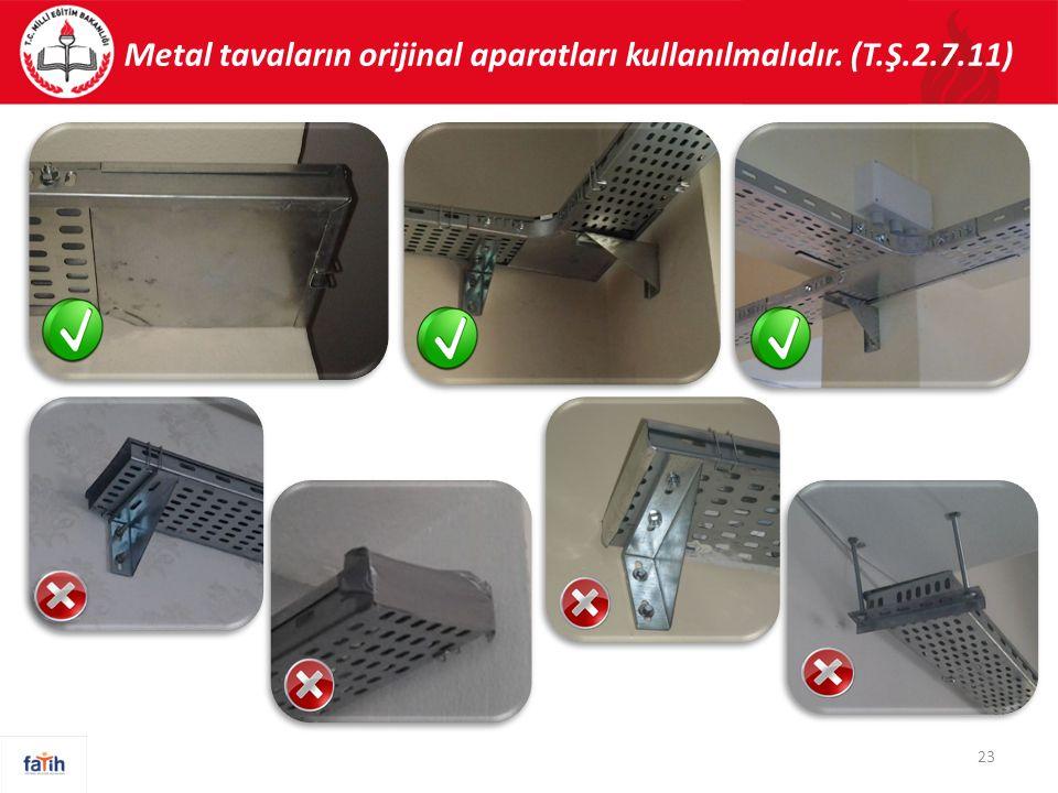 Metal tavaların orijinal aparatları kullanılmalıdır. (T.Ş.2.7.11) 23