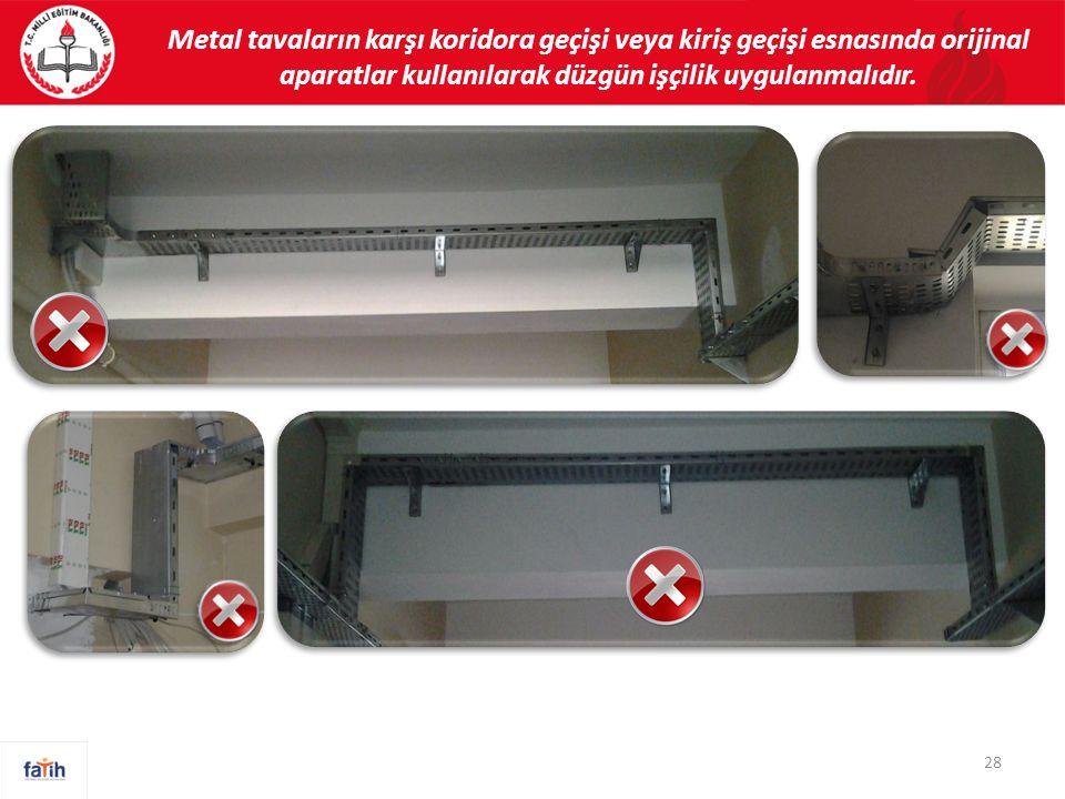 28 Metal tavaların karşı koridora geçişi veya kiriş geçişi esnasında orijinal aparatlar kullanılarak düzgün işçilik uygulanmalıdır.