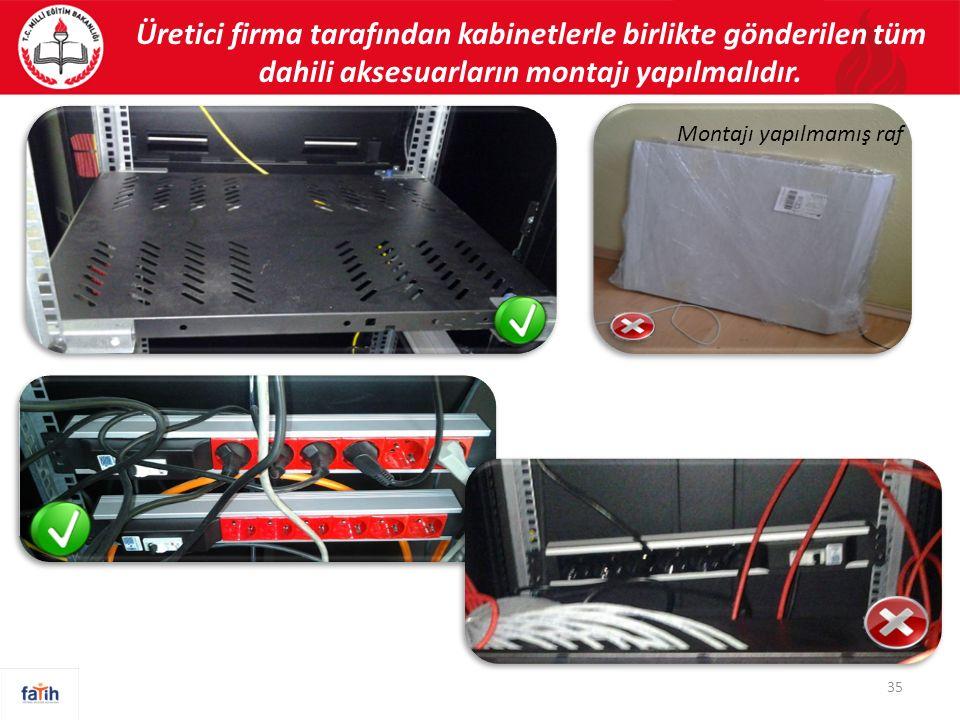 Üretici firma tarafından kabinetlerle birlikte gönderilen tüm dahili aksesuarların montajı yapılmalıdır. 35 Montajı yapılmamış raf