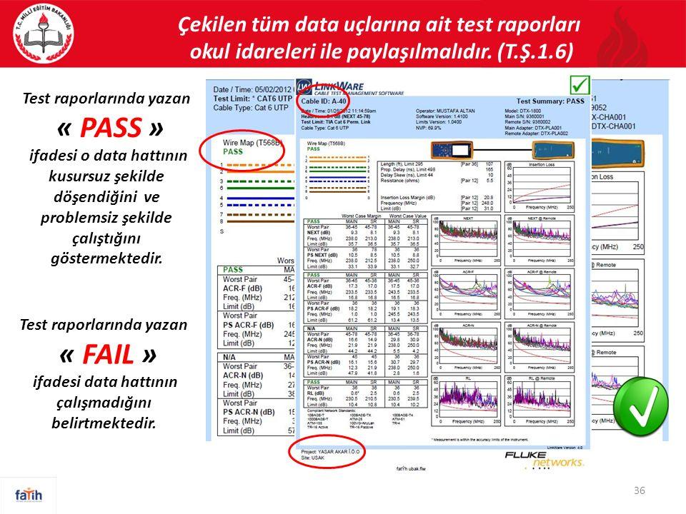 Çekilen tüm data uçlarına ait test raporları okul idareleri ile paylaşılmalıdır. (T.Ş.1.6) 36 Test raporlarında yazan « PASS » ifadesi o data hattının