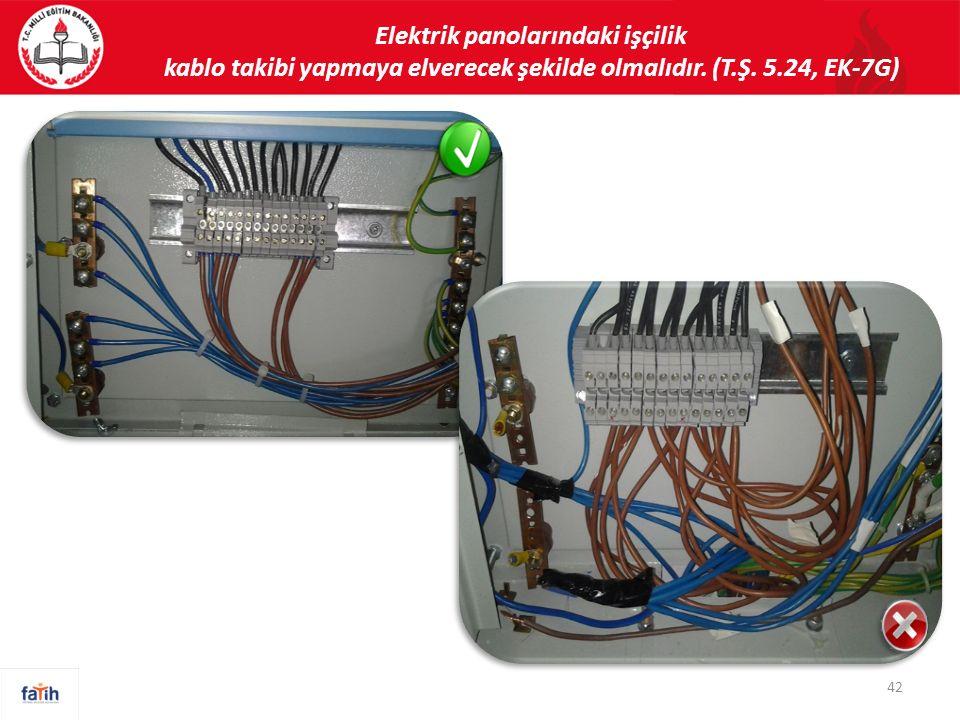 Elektrik panolarındaki işçilik kablo takibi yapmaya elverecek şekilde olmalıdır. (T.Ş. 5.24, EK-7G) 42
