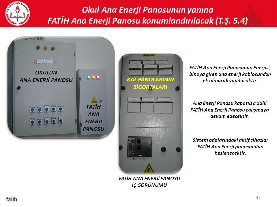 Okul Ana Enerji Panosunun yanına FATİH Ana Enerji Panosu konumlandırılacak (T.Ş. 5.4) 47 OKULUN ANA ENERJİ PANOSU FATİH ANA ENERJİ PANOSU KAT PANOLARI