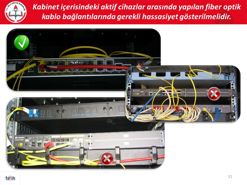 Kabinet içerisindeki aktif cihazlar arasında yapılan fiber optik kablo bağlantılarında gerekli hassasiyet gösterilmelidir. 51
